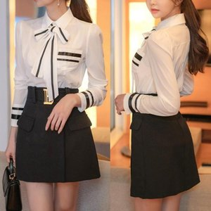 Two-Piece Set 2020 Korean Style Slim Fit Temperament Bow Lace-up Shirt Top Cinched Short Dress Suit for Women