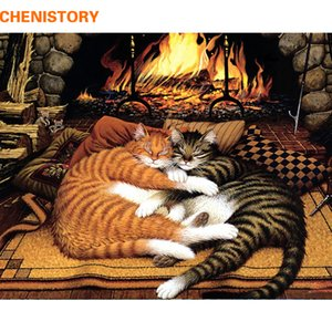 CHENISTORY Frameless Couple Cat Animals DIY Painting By Numbers Kit Paint On Canvas Painting Calligraphy For Home Decor 40x50cm Q1123