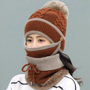 Fall winter Warmth Hooded Women's Thick Wool Knitted Hat With Cashmere[hat+mask+bib]