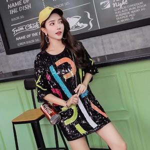 DANGAL PEQUIN T-shirt avec paillettes Shiny Fashion Femmes Sequin Vêtements Hip Hop Club Party Femme T-shirt Robe à moitié manches Y200110