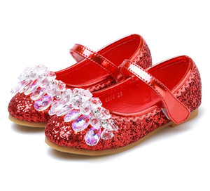 Zapatos de cuero de las niñas, nuevos zapatos de primavera y otoño, flor de niña de flores Rendimiento infantil Danza Princesa Crystal Shoes EU R: 25-34 180