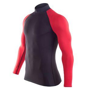 Camicia in esecuzione Sport Gym T-shirt uomo allenamento maniche lunghe Quick Dry Gymwear Abbigliamento superiore Collo alto Guard Guardia Men MMA