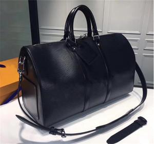 Mujeres Keepall 45 cm bolso de lujo diseñadores Bolsos de bloqueo de alta calidad Cuero real Astuco Hardware Hombres Duffle Equipaje Bolsos de gran capacidad Deporte Bolsa de viaje