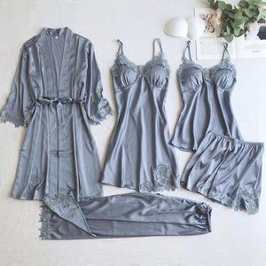 Lady 5PCS Kimono Robe Gown Suit Lace Flower Trim Satin Sleepwear Sexy V-Neck Nightdress Chest Bra Casual Home Wear With Belt