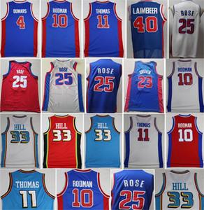 Derrick Rose Jerseys Basket City Isiah Thomas Bill Laimbeer Dennis Rodman Joe Dumars Grant Hill Blake Griffin Blu Bianco Rosso