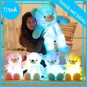 30cm Luminous Glowing Teddy Bear Rag Doll Plush LED Light Kids Adult Christmas Toys Party Favor sea shipping AAA879