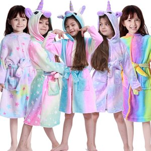 Unicorn Hooded Children Bathrobes Baby Rainbow Bath Robe Animal For Boys Girls Pyjamas Nightgown Kids Sleepwear 3-11Y Q1215