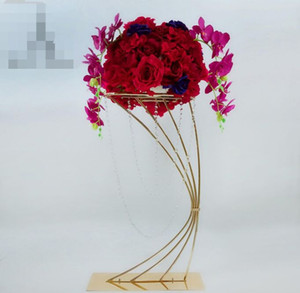 32 '' Tall Gold Metal Flower Soporte Floral Rack Flower Flower Holder para la decoración de la boda Tabla CenterPieces Grand Event Soporte de flores de cristal