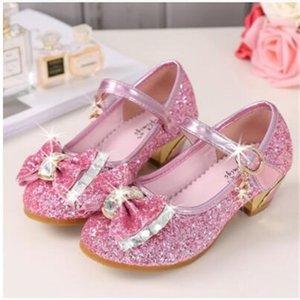 5 Colors Kinder Prinzessin Sandalen Kinder Mädchen Hochzeit Schuhe High Heels Kleid Schuhe Bowtie Gold Schuhe Für Mädchen Y200103