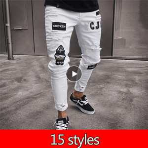 15 Styles Men's Vintage Ripped Jeans Biker Skinny Slim Fit Zipper Denim Pant Destroyed Frayed Trousers Embroidery Style Pants 201130