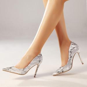 새로운 여성의 높은 뒤꿈치 여성 활주로 지적 발가락 10cm 높은 뒤꿈치 신발 Gladiaor 샌들 웨딩 드레스 신발 상자 크기 35-42