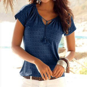 Boho Beach Shirt Women Summer Tops T Shirt Fashion Clothing Casual Vintage Plus Size T Women Holiday Female Tshirts K20