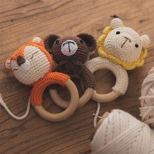 1pc Baby Teether BPA Free Crochet Rattle Cartoon Animal Lion Fox Wooden Beech Ring Nursing Soother Molar Educational Toys Q1121