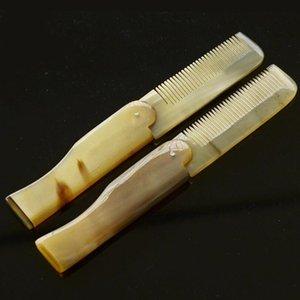 1 قطعة ياك القرن مشط طوي الجيب كليب شارب لحية التصميم أداة المحمولة مشط تصفيف الشعر أدوات العناية بالشعر