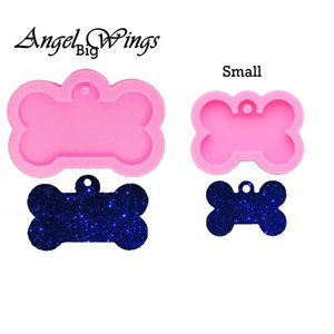 Shiny Dog bone silicone keychain Mold epoxy resin mould dog tag label Molds handmade DIY Jewelry Making DHF2911