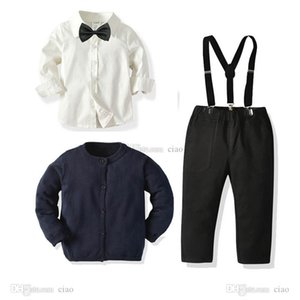 INS casual boys suits formal boys clothing sets sweater cardigan+bow tie shirt+ suspender trousers kids outfits boys clothes 1-7Y B3623