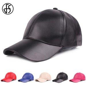FS Winter PU Leather Cap For Men Black Red White Baseball Caps Unisex Snapback Hat Women Golf Custom Bone Trucker Gorra 2020