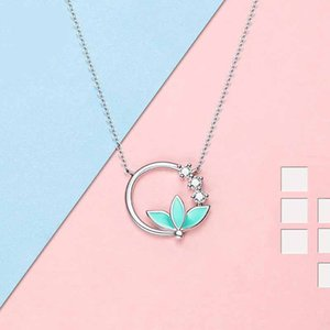 Design Silver Plated Lotus Necklace Artificial Crystal Silver Color Chain Green Leaves Fine Jewelry For Women Gift