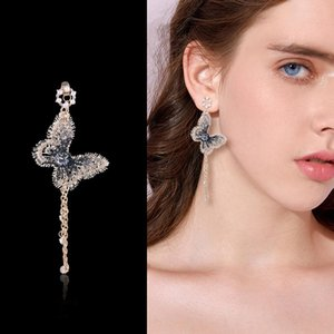 Fashion INS Embroidery Butterfly Wedding Earrings Crystals Long Tassel Drop Dangle Earrings Jewelry For Girls Women Party Prom Evening Dress