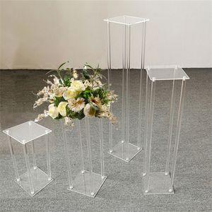 Conjunto de 4 tamaños Piso de boda Jase Clear Acrylic Grand Jases Decoración de boda Flower Stand Frame Frame Column Pilar 201127
