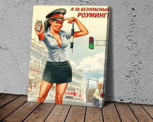 World War II Sexy Paintbrush Girl Stationery Poster Modern Cool Canvas Art Poster and Prints Wall Picture for Living Room Decoration
