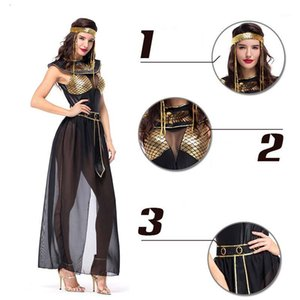 Drop Shipping Femmes Costumes Mesdames Queen Noir Goddess Egyptiens Cleopatra Fantaisie Fête Halloween Costume Outfit M XL1