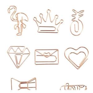 Gold Gold Crown Flamingo Clip di carta Clip di carta Creativo Metallo Clip di carta Bookmark Memo Planner Clips School Office Cancelleria forniture TQQ