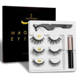 3 Pairs Magnetic Eyelashes Set Magnet Eyeliner 3D Mink False Lashes Tweezer Set Lasting Reusable Fake Eyelashes Extension Set