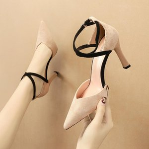 Hot Sale- High Quality Suede Cross-tied Women Pointed Sexy 9cm Thin High-heeled Office Lady Shoes 4 Colors Size 35-39
