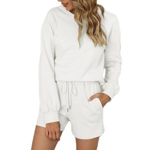 Women Pajamas Two-piece Set Pure Cotton Solid Color Home Wear with Pockets Long Sleeve Top + Shorts