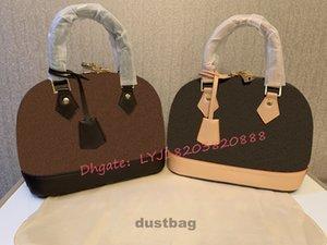 Женская сумка Alma Bb Shell сумка Top Handle смазливая сумка Damier Ebene Crossbody сумка лакированной кожи женщин конструктора сумки на ремне сумки M53152