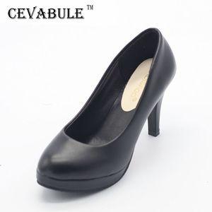 Clássico de cevabule 2020 New Women Pumps Shoes saltos Mulher 9cm Bombas Plataforma cor preta bombas para senhora Red Sole LJ200924