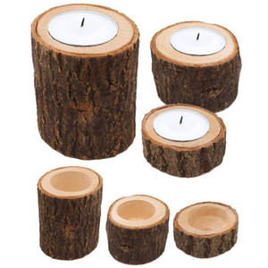 Wooden Candlestick Round Candle Holder Table Decoration Plant Flower Plot Creative Candle Holders Home Decoration Christmas gifts HWF3288