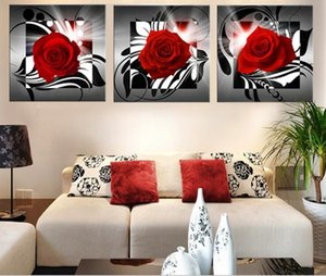 Paintings HD Abstract Canvas For Living Room Wall Art Poster 3 Pieces Retro Modern printing painting of Rose Decoration Pictures Modular No