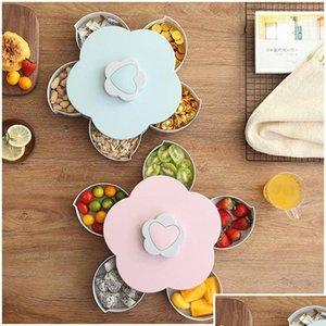 Kreative Blume Blütenblatt Obst Platte Süßigkeiten Aufbewahrungsbox 5 Gitter Nuts Snack-Tablett Rotierende Blumen Lebensmittel Geschenk Bo Qyljxf Garden2010
