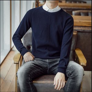 5frdMen's casual long sleeve sweater with round neck4bh