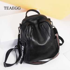 TEAEGG Women Cow Leather shoulder bag female wild backpack Lady large capacity bag A1113