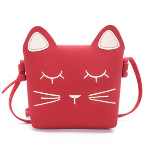 New Children&#39s Coin Purse Baby Cat Mini Shoulder Bag Cute Princess Messenger Bags Faux Suede Small Bags for Kids Girl