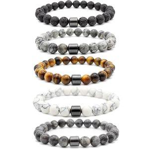 Black magnetic hematite bracelet Natural stone Lava tiger eye turquoise beads bracelets women mens fashion jewelry