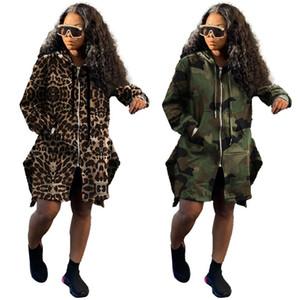 Camuflagem leopardo trench casacos womens solto de manga longa com capuz cordão zíper casacos outono saquete mulheres mulheres longas outerwear