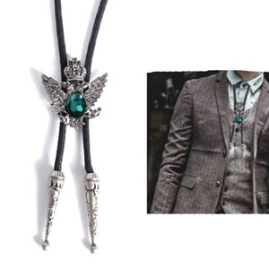 Black Blue Red Crystal Bolo Tie Korean British Fashion Denim Men's Wedding Shirt Women Bow Ties Rope Necklaces Gifts for Men