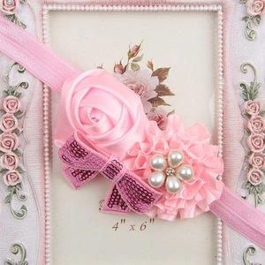 Headwear Kids Flower Headband Pink Lace Hair Bands Girl Felt Flower Scarf Hair Accessories