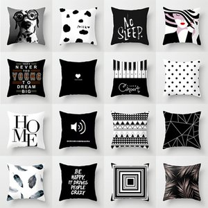 New Black White Printing Pillowcase Großhandel Haushalts Sofa Bürostuhl Kissenbezug Bequeme Geometrie Printed Kissenbezug OWF3039