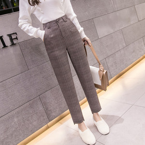 S- Autumn Winter Plaid Wool Harem Pants Female 2020 Ankle-length High Waisted Pants Harem Pants Women Plus Trousers Women LJ201130