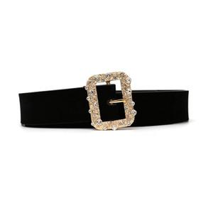 Za sólida liga quadrada diamante cinto europeu e americano retro veludo metal cinto cintura selo cruz fronteira por atacado