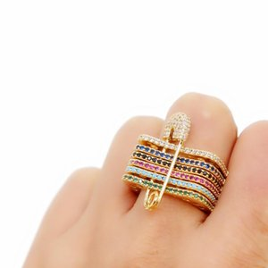 fashion 6 pcs engagement band stack stackable paperclip safety pin design colored cz turquoises delicate women ring jewelry 2020