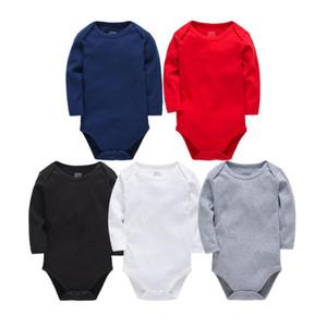 الوليد مصمم التسمية الطفل السروال القصير شريط طويل الأكمام الطفل بذلة 5 ألوان طفل الفتيان الفتيات ملابس الرضع رومبير