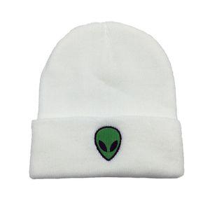 Sonbahar Kış Alien Kafatası Işlemeli Yün Örme Erkekler Beanie Şapka Kadınlar Için Açık Rüzgar Geçirmez Sıcak Tutmak Yumuşak Fold Soğuk Kapaklar W123