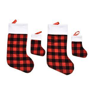 Christmas Decoration Festival Dress-up Supplies Red Buffalo Plaid Christmas Stocking Gift Candy Bag Christmas Tree Pendant KKF3436