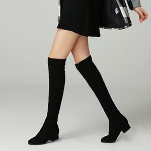 2020 Autumn Winter Sexy Elastic Flock Slim Fit Over The Knee Boots Women med thigh ladies heel High botas Shoes Q1124
